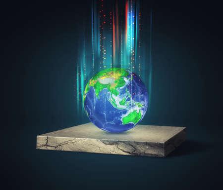 Earth globe on isometric concrete cube . Global data transfer information .
