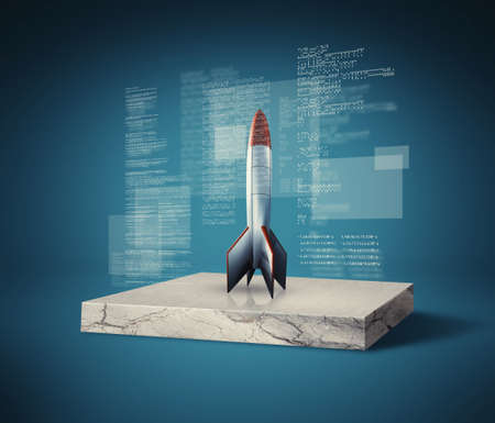 Rocket missle on a concrete cube slice with data and information on screens . Start up launch concept . This is a 3d render illustration Stock Photo