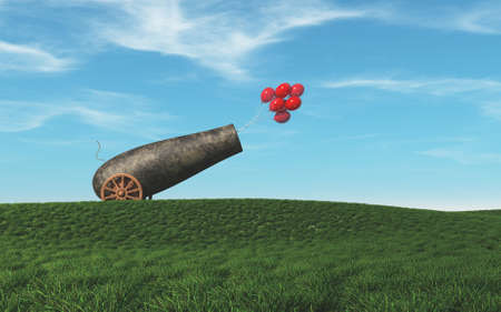 Cannon shootin with red balloons . Positivity concept . This is a 3d render illustration .