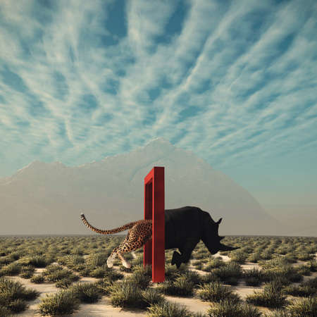 Cheetah entering a door and gets out as a rhino . Changing mindset and different approach concept . Life changing decision and new opportunities . This is a 3d render illustration .