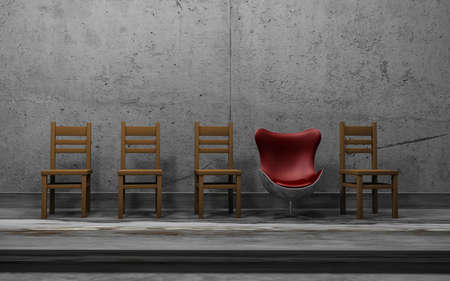 Row of wooden chairs with one odd modern one . Unique concept with an red oustanding chair . This is a 3d render illustration .