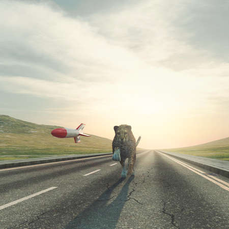 Cheetah running on highway with a rocket behind . Competition business concept . This is a 3d render illustration .