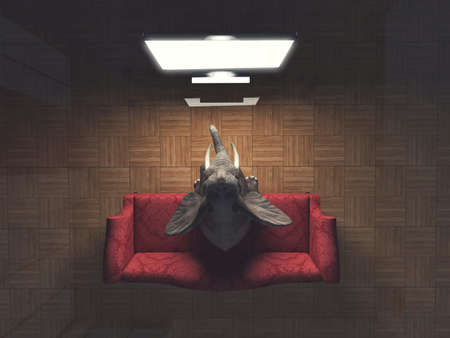 Elephant sits on sofa and watch tv in the living room . Online movie stream concept . This is a 3d render illustration .
