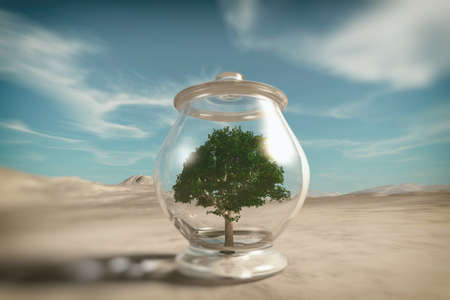 Tree inside a bowl in the desert . Global warming concept . This is a 3d render illustration . 免版税图像
