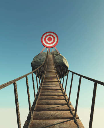 Bridge leading to a red target . This is a 3d render illustration .