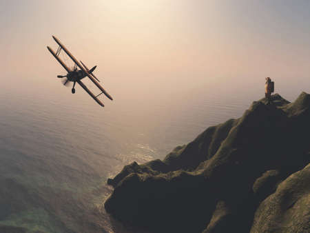 Traveler looking up at a airplane on coast at the ocean.