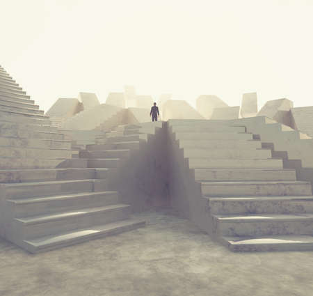 Businessman looking up to different staircases . This is a 3d render illustration. 免版税图像
