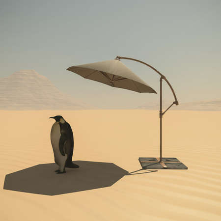 Penguin in the desert under umbrella. Global warming . Travel concept . This is a 3d render illustration .