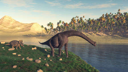 Brachiosaurus and triceratops in the valley at the lake . This is a 3d render illustration . Stock Photo