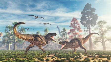 T rex fight in the valley . This is a 3d render illustration 版權商用圖片