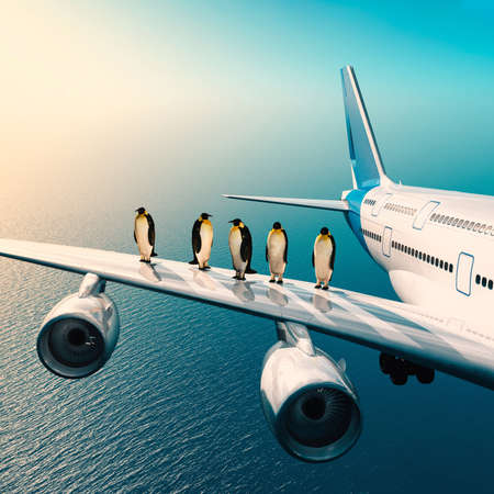 Group of pengunis standing on airplane's wing above the ocean . This is a 3d render illustration .