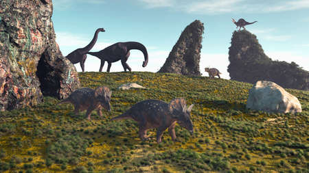 Dinosaurus on field with rocks. This is a 3d render illustration .