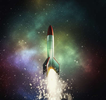 Rocket flying in the space . This is a 3d render illustration .