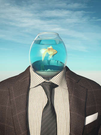 Headless businessman with a goldfish in a water bowl . Future career growth concept .This is a 3d render illustration .