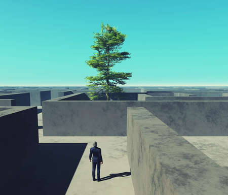 Businessman looks up to a tree inside a labyrinth . This is a 3d render illustration .