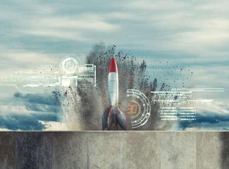 Rocket ready to launch . Start up business concept . 免版税图像
