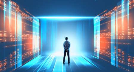 Businessman in a futuristic room . Big data information server .