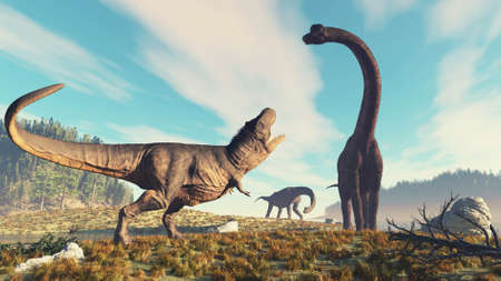 Tyrannosaurus rex roars at a brachiosaurus in the nature  . This is a 3d render illustration . 免版税图像