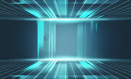 Futuristic room server with data information . Communication and transfer concept .