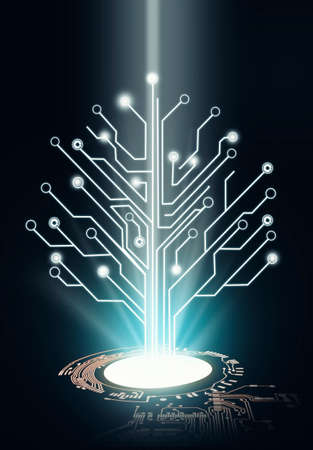 Circuit board tree connection . Futuristic connection concept .