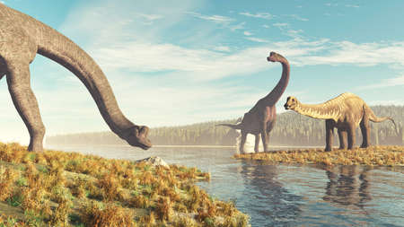 Two brachiosaurus species near a lake in the nature . This is a 3d render illustration .