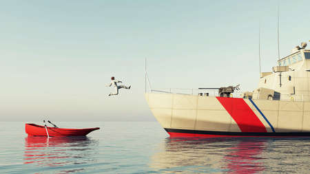 Man jumping from a small boat to a ship . Progress and ambition concept. This is a 3d render illustration . 免版税图像