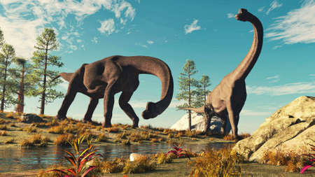 Two brachiosaurus near a stream in the nature . This is a 3d render illustration . 免版税图像