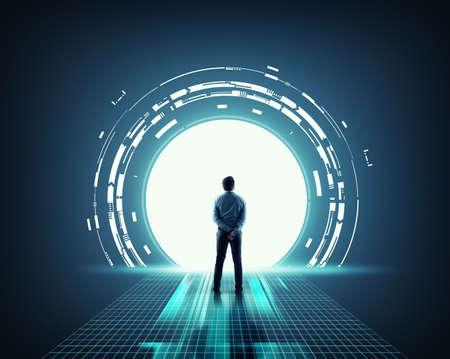 Businessman in front of a portal . Big data information server .