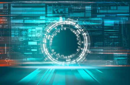 Futuristic portal  server with data information . Digital media and programming concept .