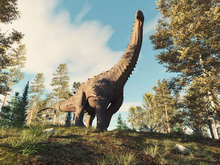Alamosaurus in the forest . This is a 3d render illustration .