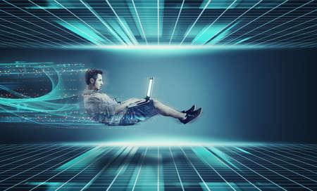Businessman working on high internet speed on  a futuristic background .