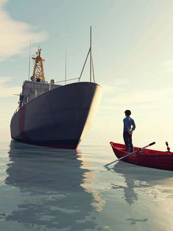Man in a small boat looking at a ship . Progress and chanllenge concept. This is a 3d render illustration .