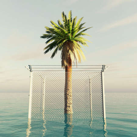 Palm tree locked by a metal fence in the ocean . Holiday restriction concept . This is a 3d render illustration .