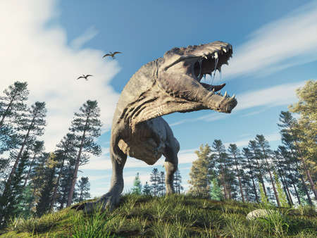 Tyrannosaurus rex in the forest . This is a 3d render illustration .