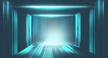 Futuristic room with data information . Cloud and computing concept . 免版税图像