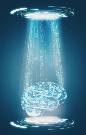 Artificial intelligence concept . Futuristic data transfer ,