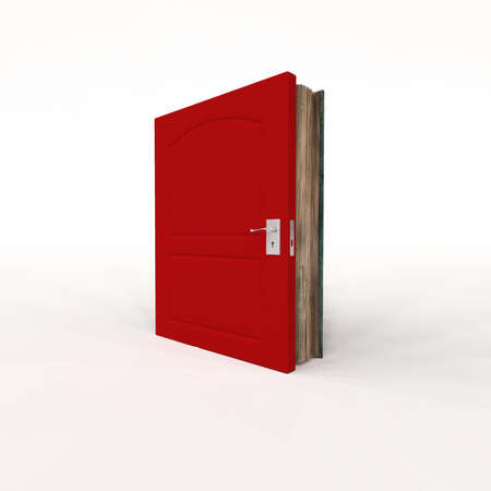 Book with a closed door  on white background .  Key to success concept . Education and new opportunity . This is a 3d render illustration