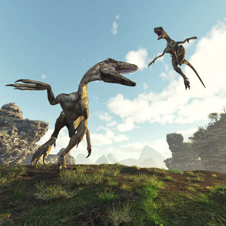 Two dinosaurus fighting in the valley . This is a 3d render illustration . 免版税图像