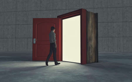 Businessman entering a door in a book . New opportunity concept . This is a 3d render illustration .