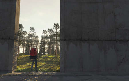 Traveler with a backpack in front of a opened concrete gate . Escape to the nature . This is a 3d render illustration .