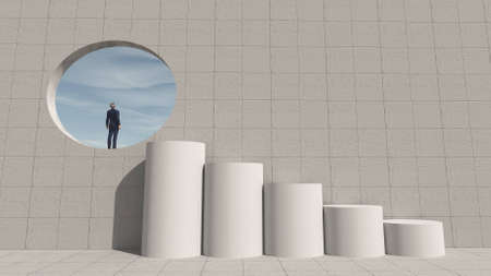 Stairs in front of a round gate in the wall. Ambition and success concept . This is a 3d render illustration .