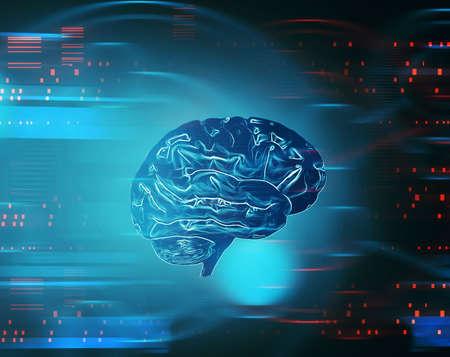 Artificial intelligence concept . Futuristic data transfer .