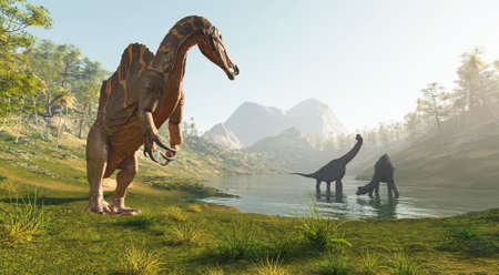 Spinosaurus near the lake hunting two brachiosaurus . This is a 3d render illustration . Stock Photo