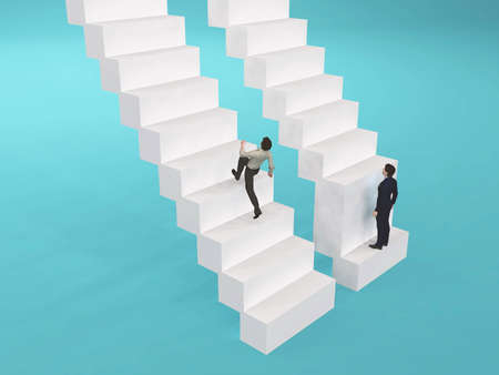 Two businessman in front of different stairway . Unfair situation concept . This is a 3d render illustration .