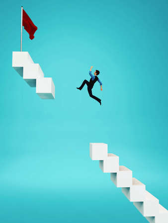 Businessman jumping over a gap to a red flag on stairway. This is a 3d render illustration .