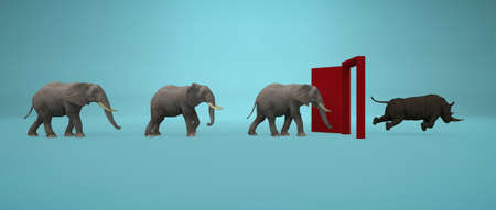 Elephants entering a door and gets out as a rhino . Changing mindset and different approach concept . Life changing decision and new opportunities . This is a 3d render illustration .