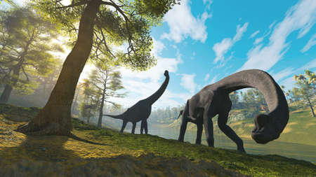 Two brachiosaurus in the forest . This is a 3d render illustration .