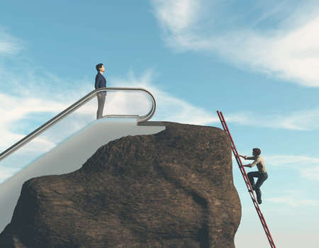 Two man climbing on a rock  . Work smart not hard concept . This is a 3d render illustration .