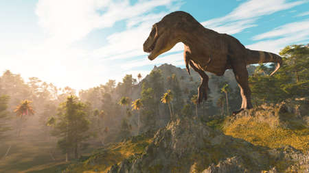 T rex in the jungle at sunset . This is a 3d render illustration .