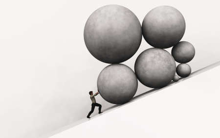 Businessman pushing up big stones on a hill . Business problem crisis and and multiple responsibilities . This is a 3d render illustration .